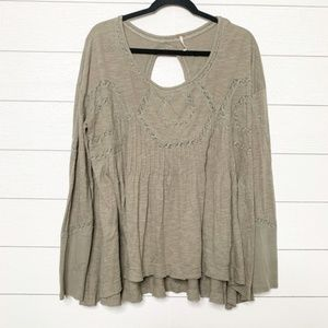 Free People Army Green Oversize Long Sleeve Blouse
